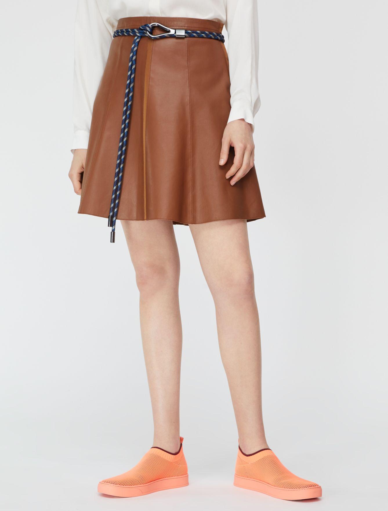 DELEGATO Leather Skirt brown 1