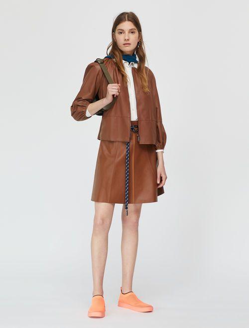 DELEGATO Leather Skirt brown 4