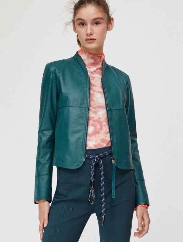 DEPONETE Leather jacket emerald green 1