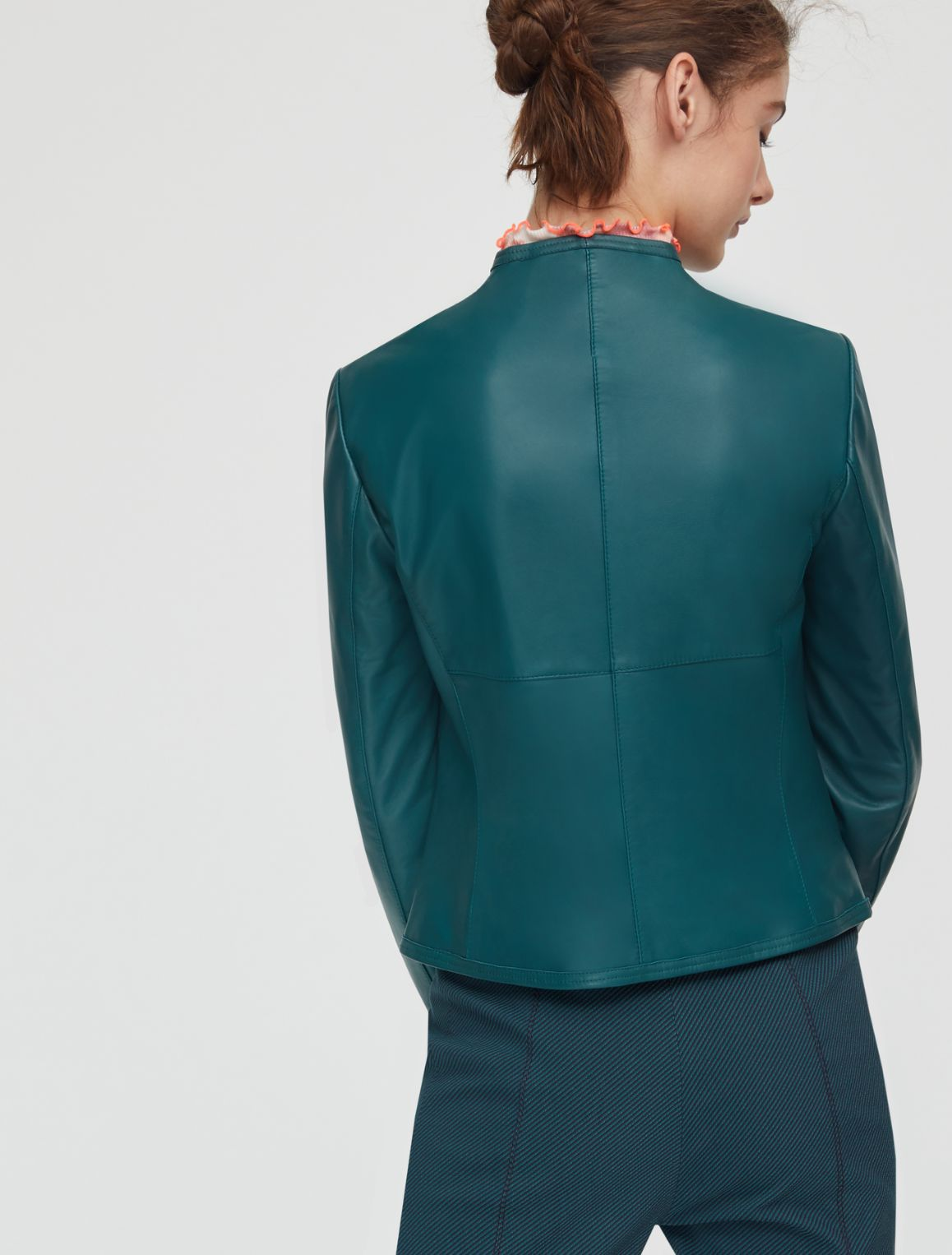 DEPONETE Leather jacket emerald green 2